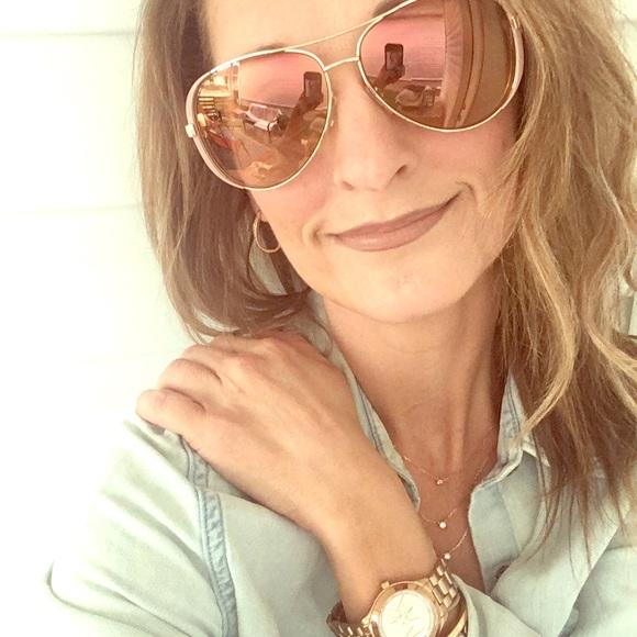dd8b8d71b9fc Michael Kors Chelsea Rosegold Aviator Sunglasses. M_5af6f3b3a825a6550a371260
